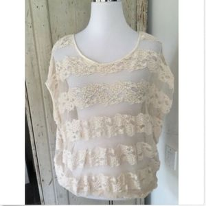 FREE PEOPLE CREAM OPEN LACE BLOUSON TOP XS NEW